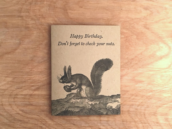 Check Your Nuts. Letterpress Men's Health Birthday.
