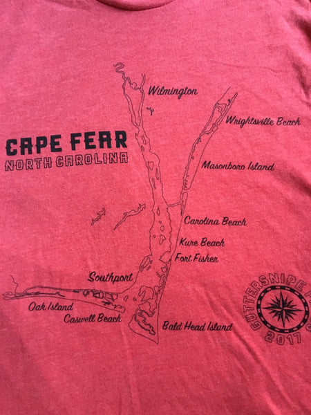 Cape Fear, NC River and Beaches Map Premium Tshirt