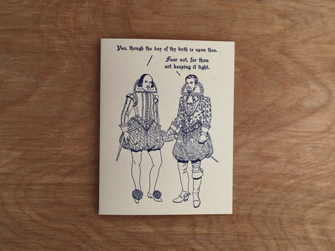 Britches and Hose: Keeping It Tight. Shakespeare Letterpress Greeting Card.