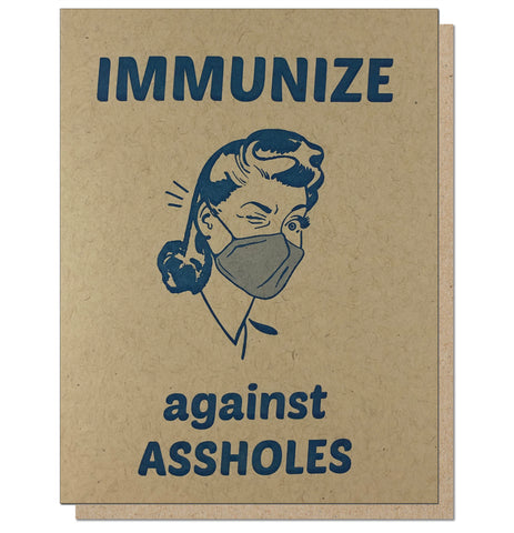 Immunize against Assholes Funny Letterpress Greeting Card