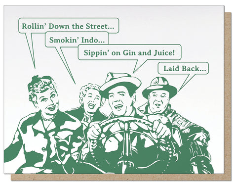Smokin' Indo. I Love Lucy Hip-Hop Letterpress Greeting Card.