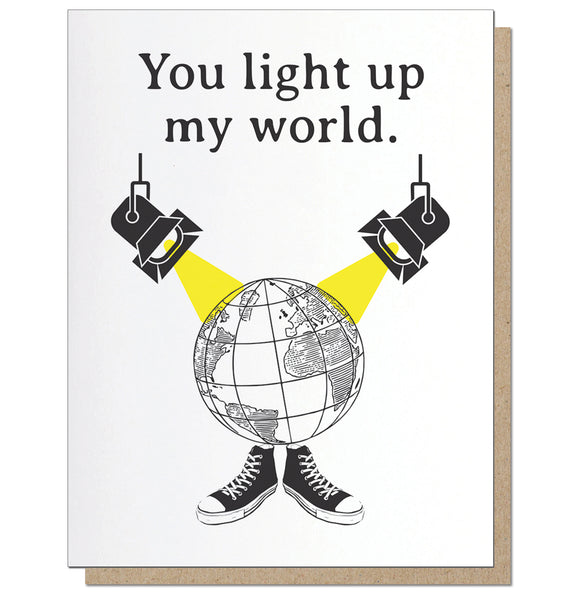 Light Up My World Letterpress Romantic Greeting Card