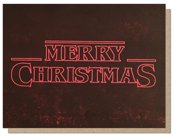 Stranger Christmas. Holiday Letterpress Greeting Card.