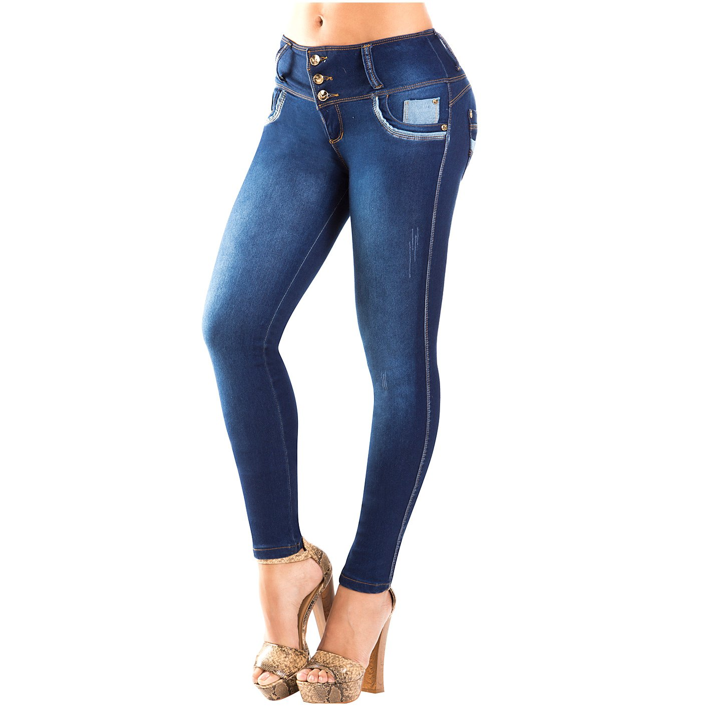 LTR CS3B06 Dark Skinny Jeans with Pocket Patch for Women