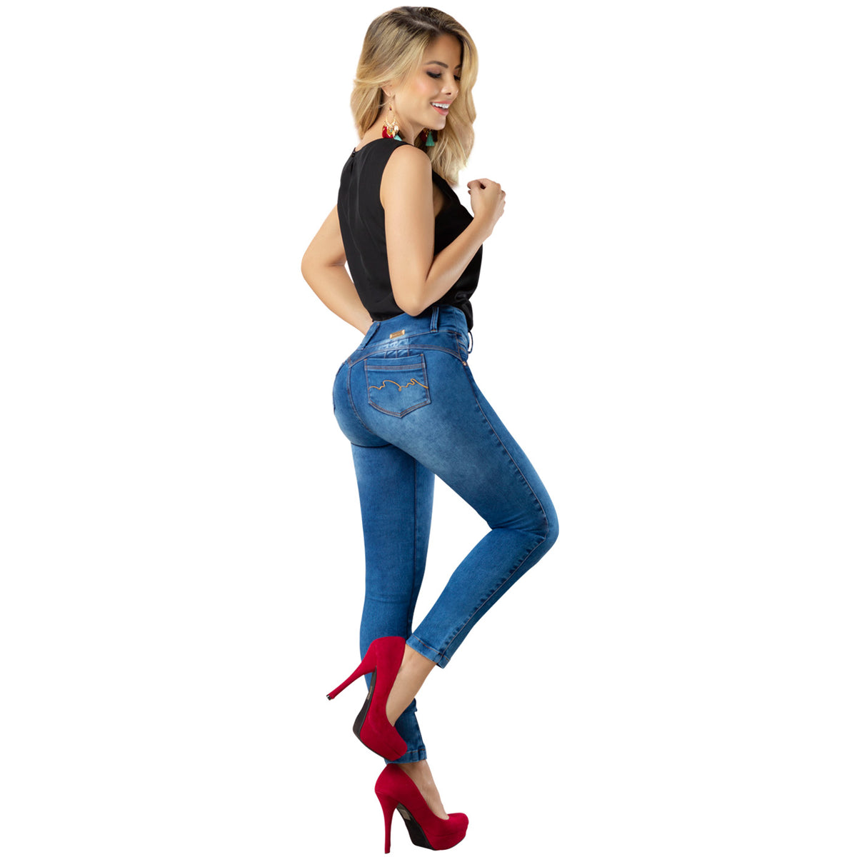 Draxy Women Colombian Classic Cut High Waist Skinny Denim Butt lifter Jeans