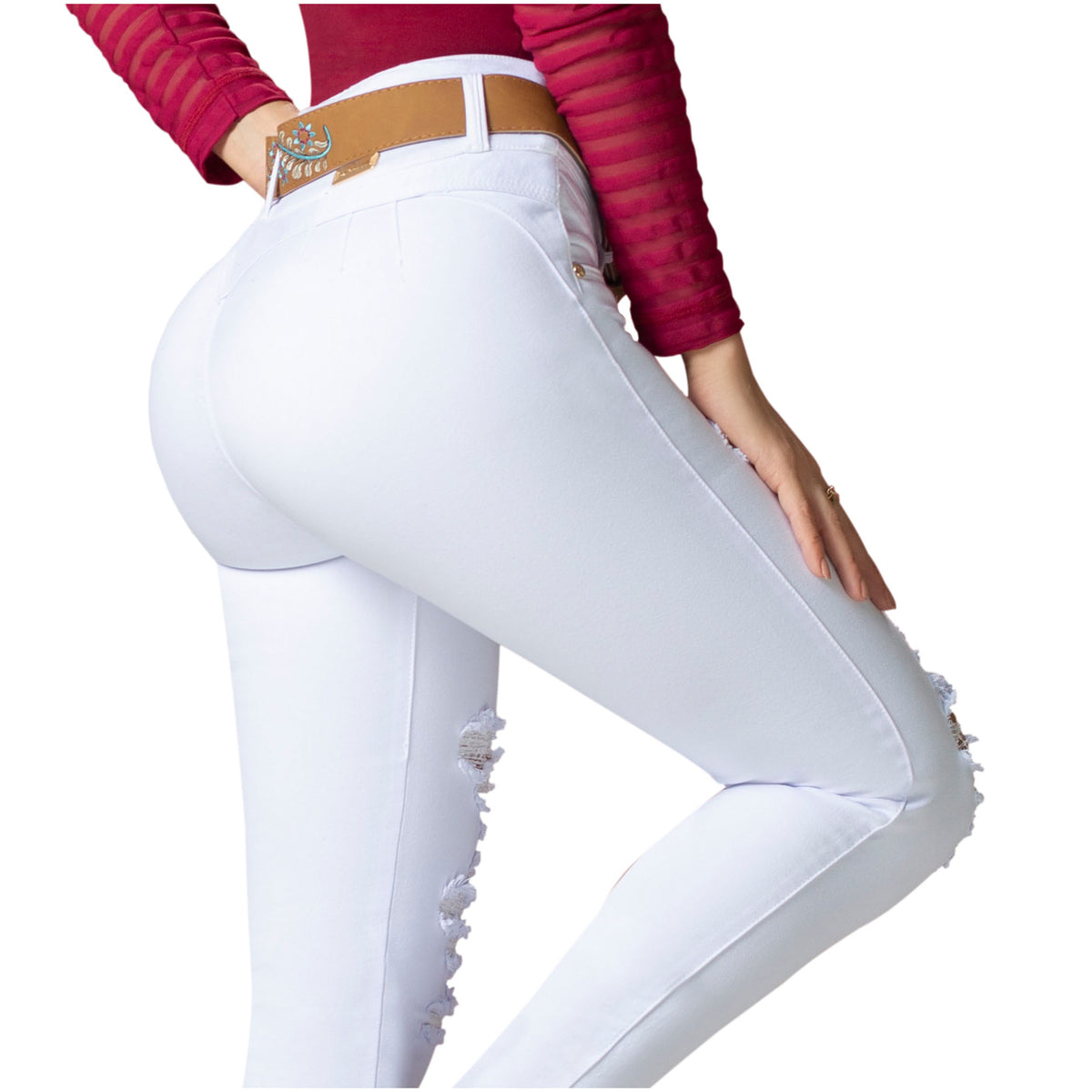 Draxy Women Colombian Sexy High Waisted Butt Lifting Mid Rise Skinny Jeans