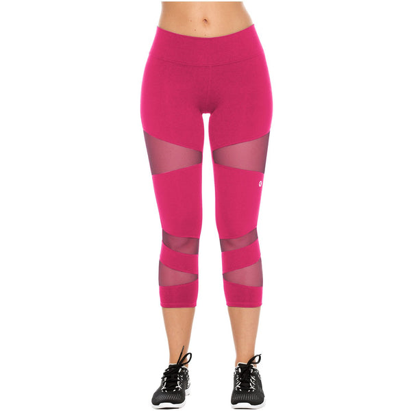Flexmee 944103 Luxury Crop Capri Polyester Activewear Workout Pants Trousers - Showmee