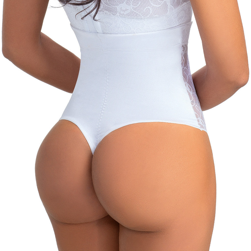 LOWLA: 2008 - High Waisted White Flat Tummy Panties - Showmee Store