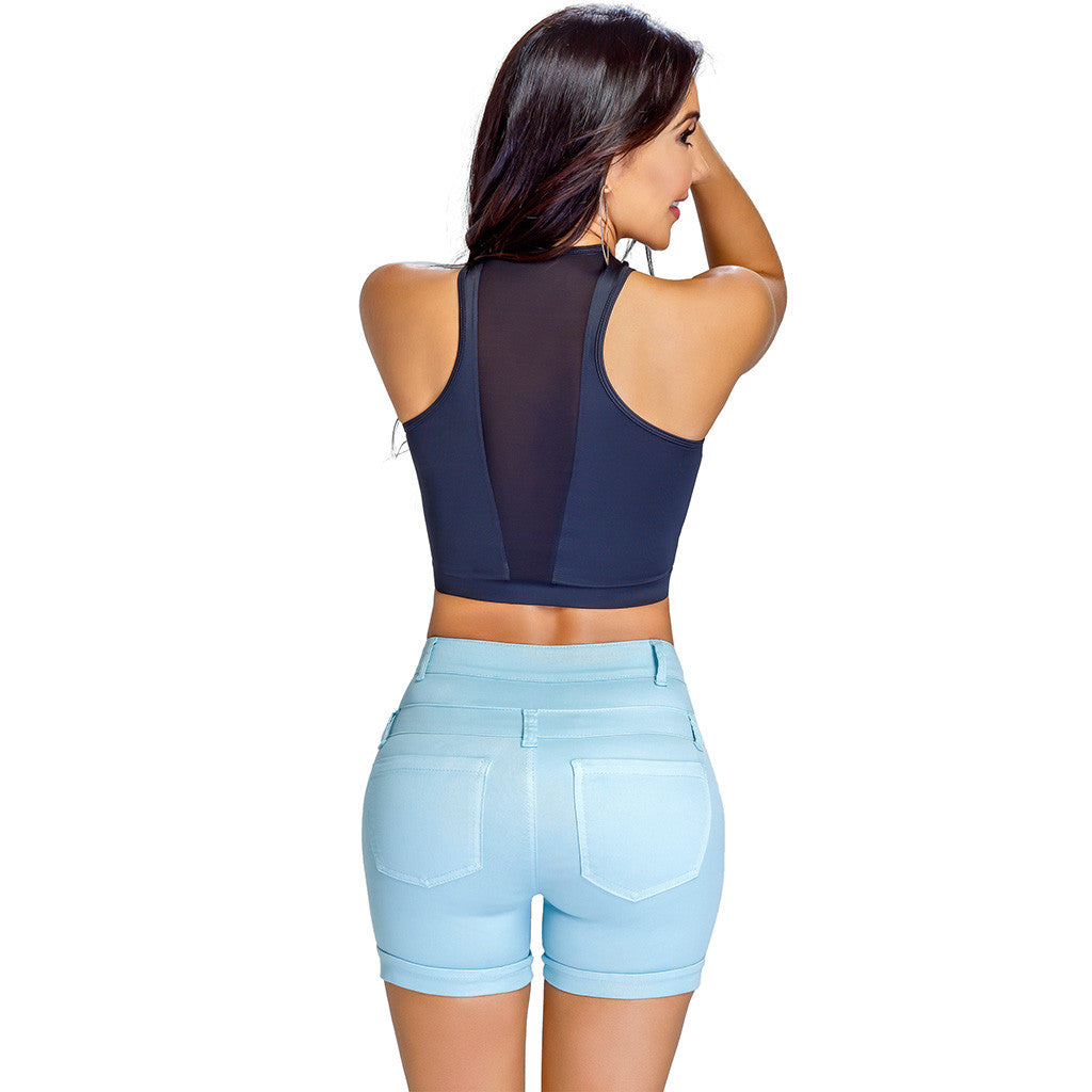 Short Levanta Cola con Faja Lowla 238847 Denim Compression Shorts