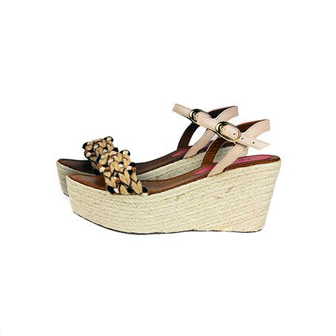 Silvia Cobos MARIELA Ankle Strap Embroidered Wedges in Beige