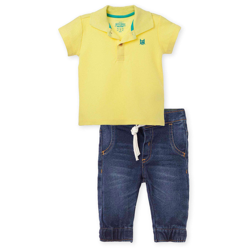 OFFCORSS Baby Polo Outfits for Boys Jeans & Pique Polo Shirt Conjunto Bebe Niño