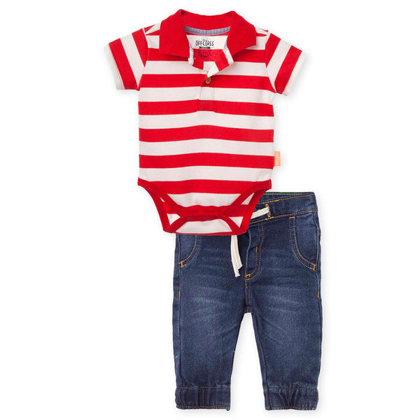 OFFCORSS Jeans and Polo Bodysuit Pant Outfits for Baby Boy Conjunto Bebes  Niño e7f6793d3