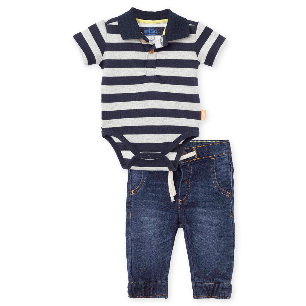 OFFCORSS Jeans and Polo Bodysuit Pant Outfits for Baby Boy Conjunto Bebes Niño