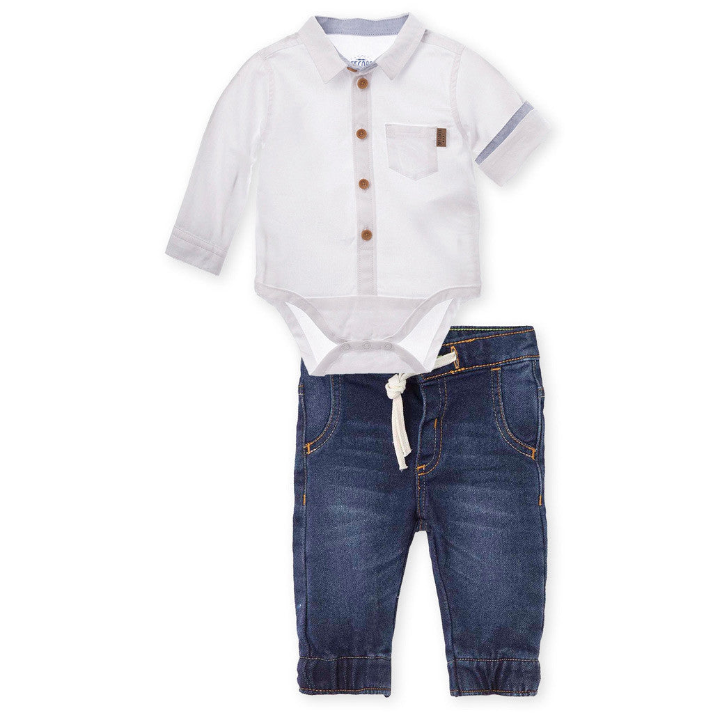 291aa0fae6 OFFCORSS Jeans Outfits Button Long Sleeve Bodysuit Baby Boy Conjunto B -  Showmee