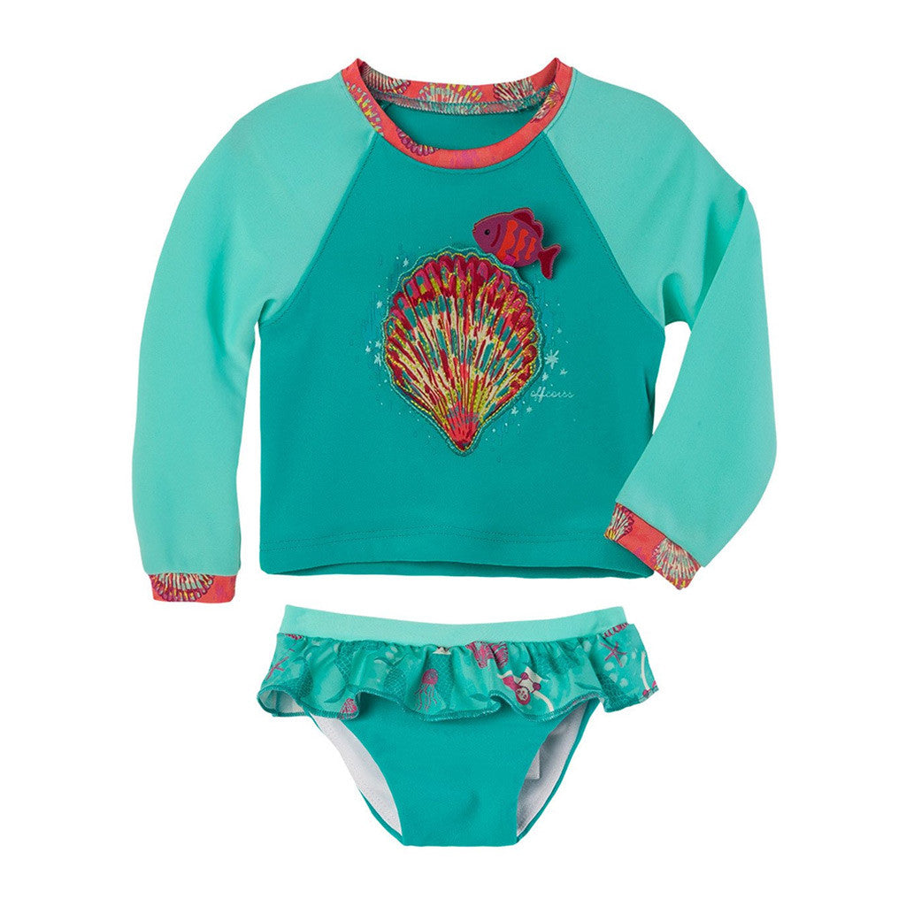OFFCORSS Baby Girl Tankini Long Sleeve Rash Guard