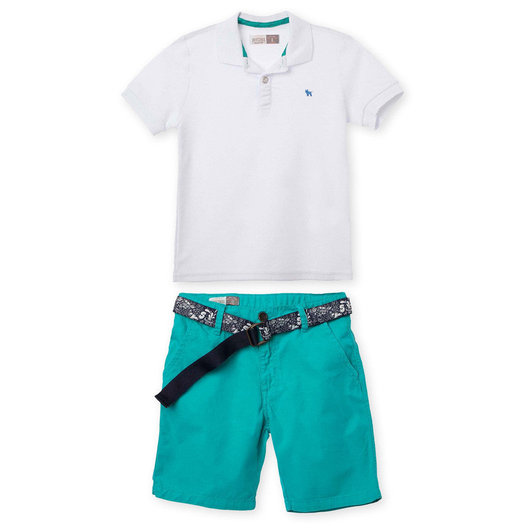 7c69886df8 OFFCORSS Polo Outfits for Boys Shorts Pique Shirt Conjuntos para Niños -  Showmee