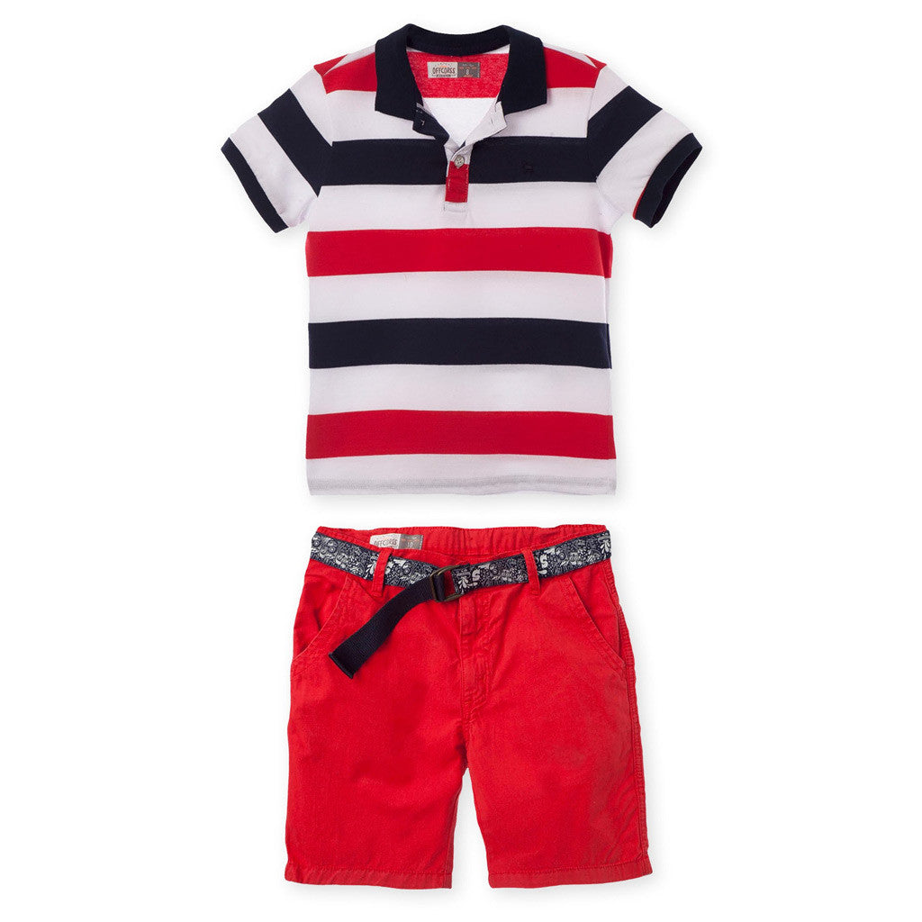 OFFCORSS Polo Outfits for Boys Shorts Pique Shirt Conjuntos para Niños Grandes