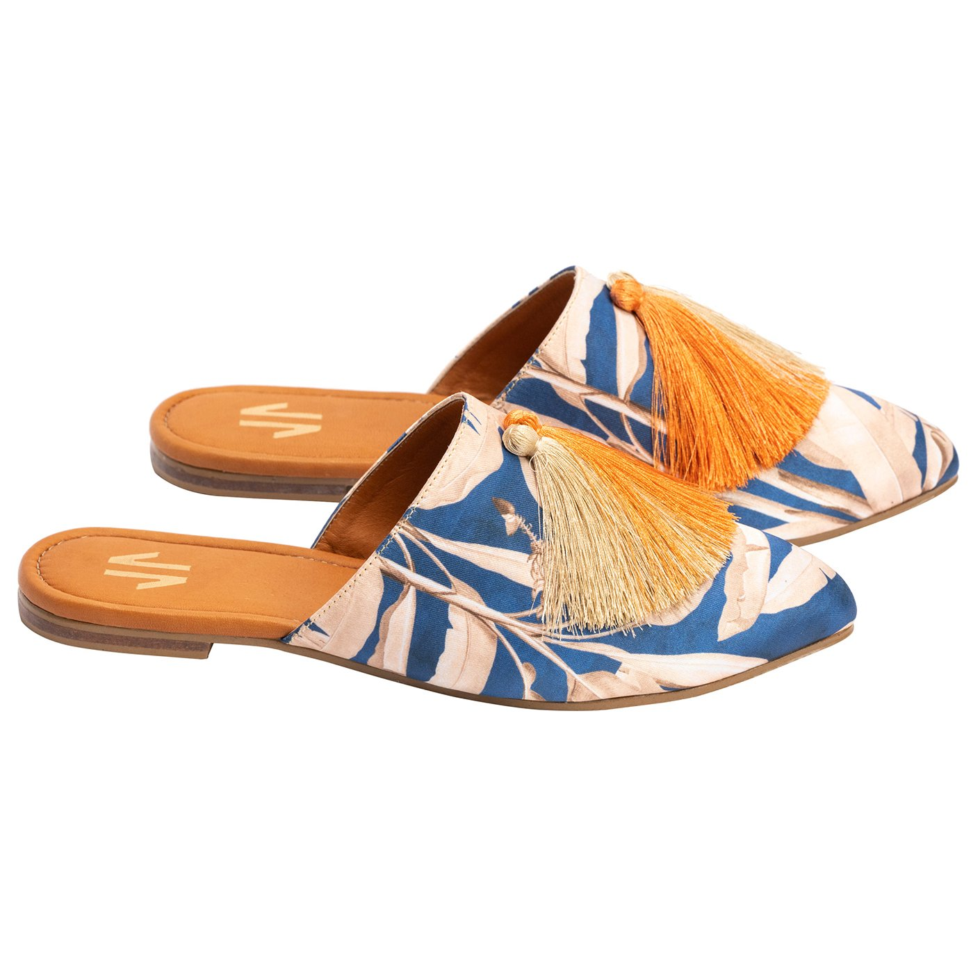 Silvia Cobos MILONGA Flat Mules with Tassels in Blue