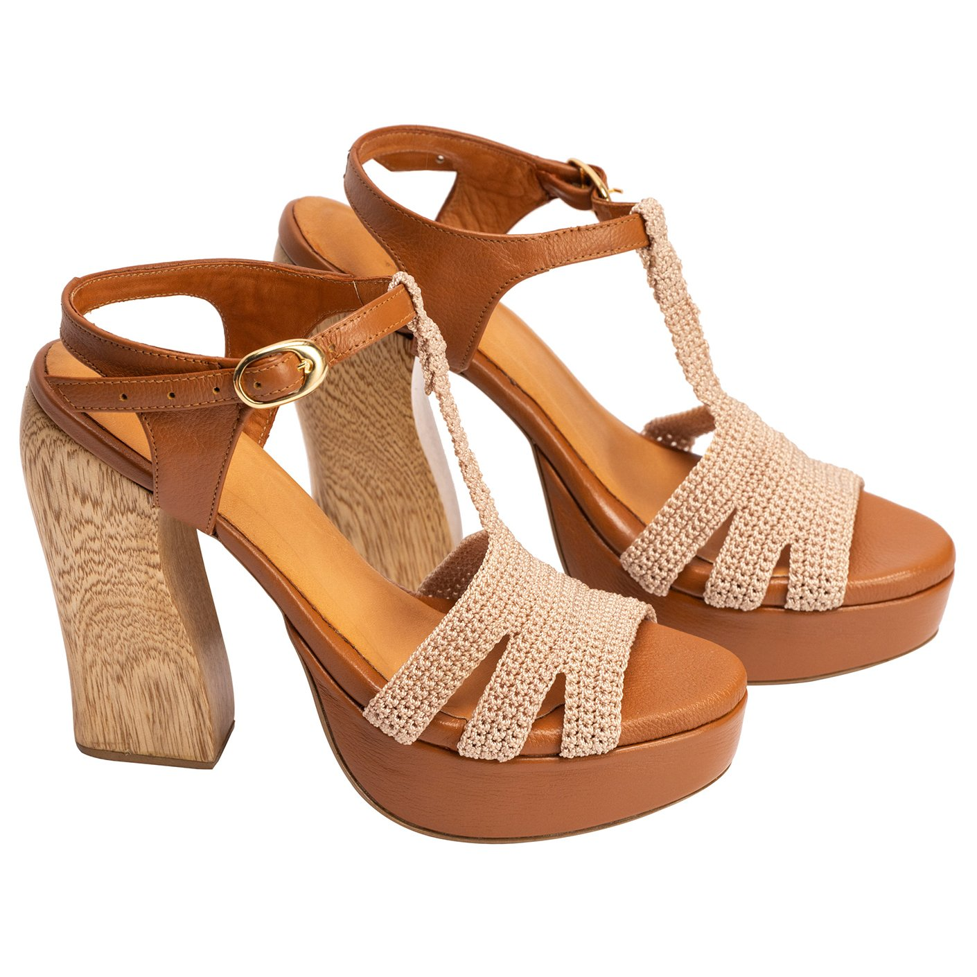Silvia Cobos IZA Chunky High Heels in Honey
