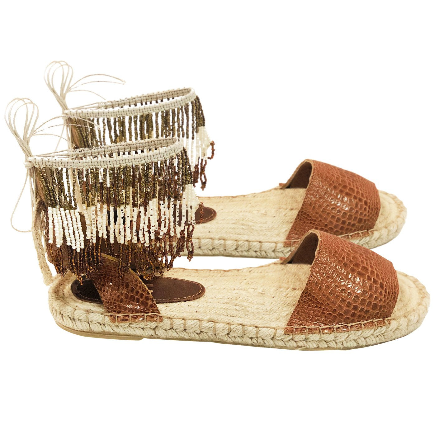 Silvia Cobos MINCA Flat Sandals with Beaded Tassels Brown