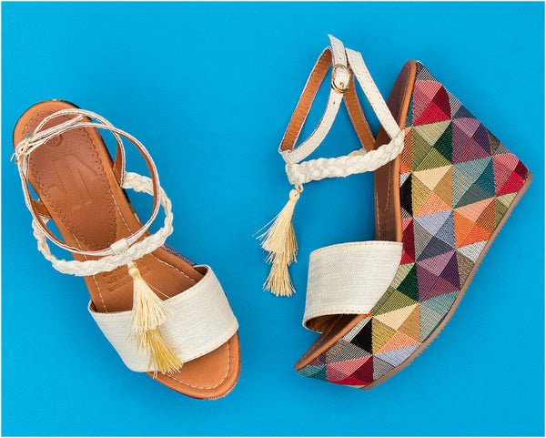 VIDALeather Lined braided Wedge Rombo - Showmee