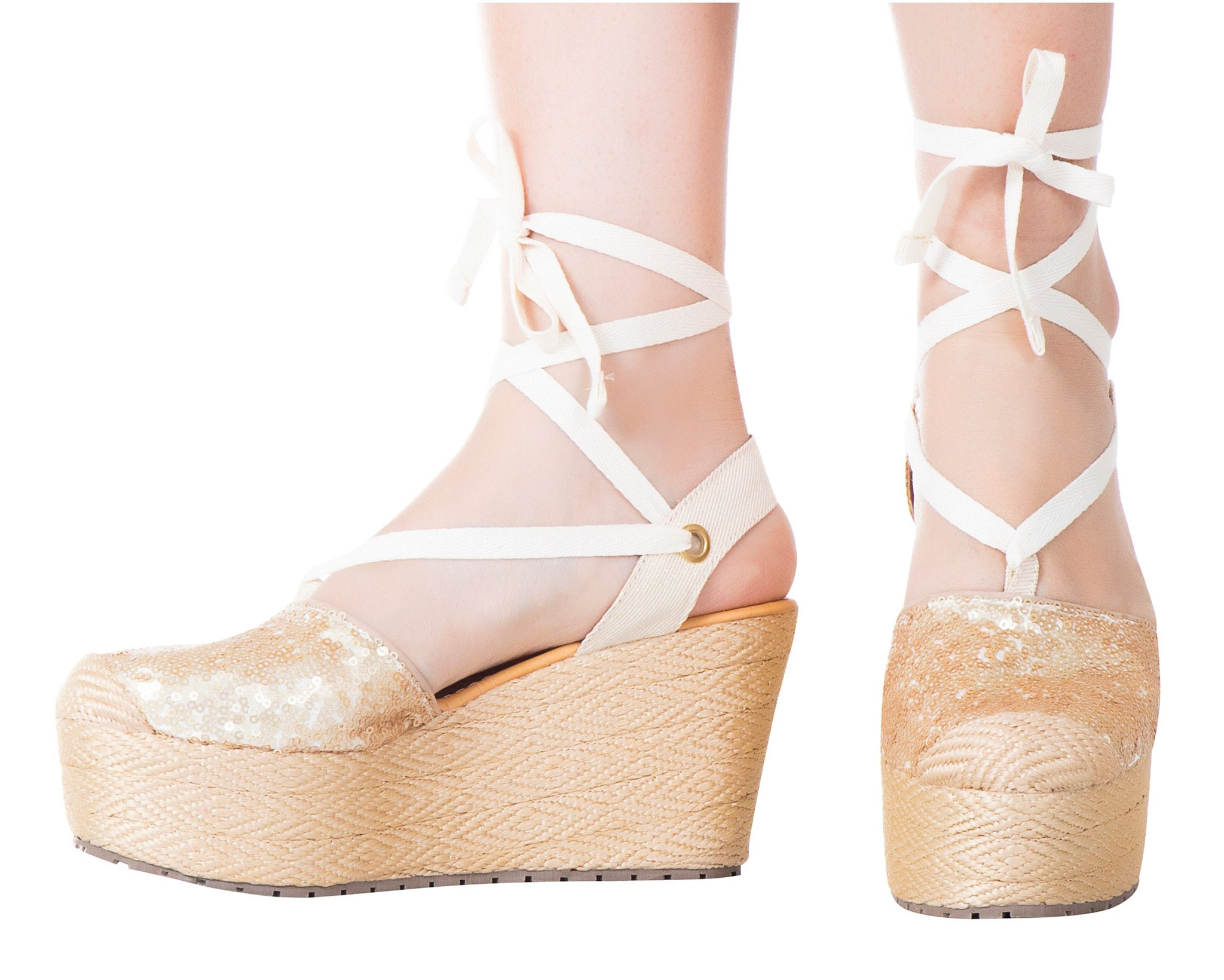 Silvia Cobos Lace Up Wedges Gold
