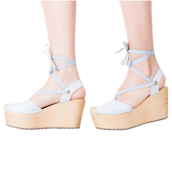 VIDALeather LACE UP High Rise lace up Espadrille Leather Textile combination - Showmee