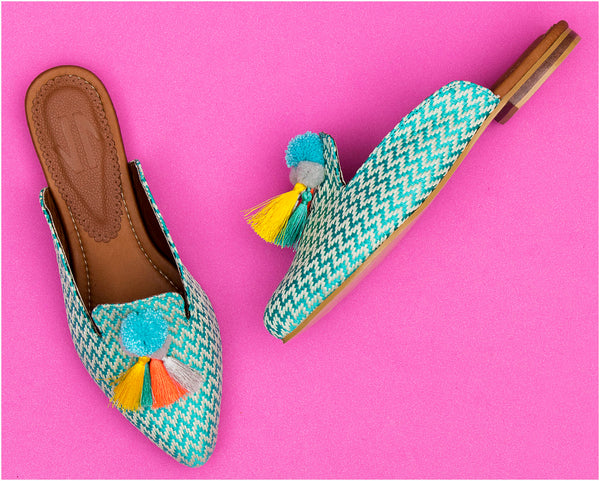VIDALeather Pom Pom Fique Mule  Turquoise - Showmee