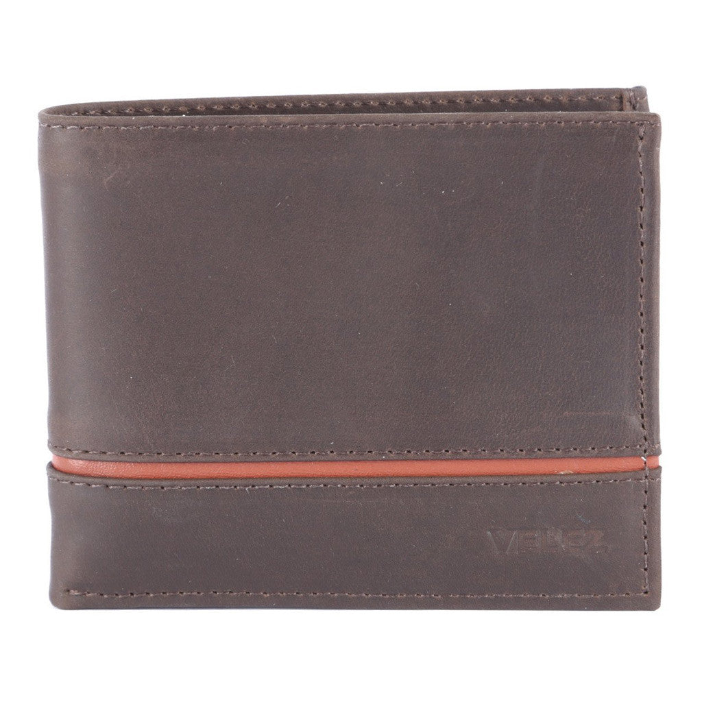 Velez Genuine Full Grain Leather Bifold Wallet for Men Billetera Cuero Hombre