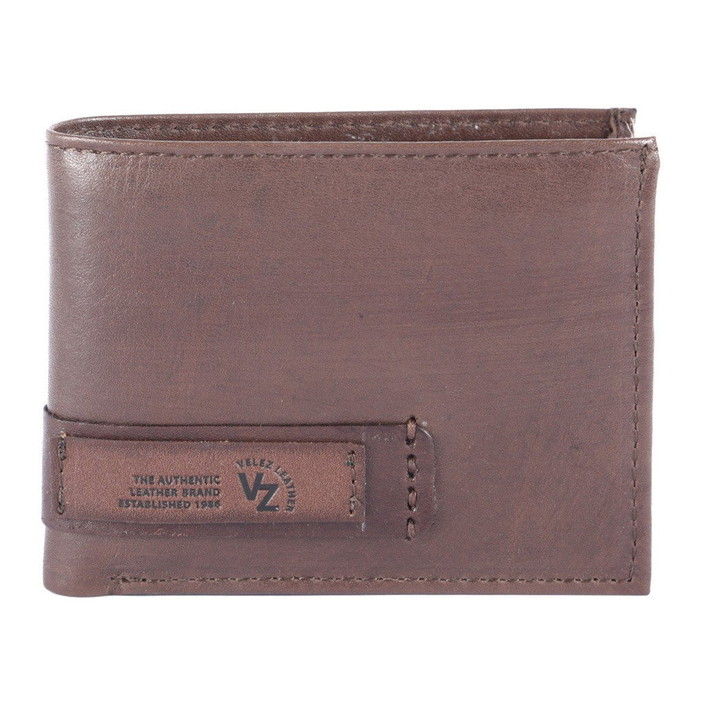 Velez Genuine Full Grain Leather Bifold Wallet for Men Billetera Cuero de Hombre