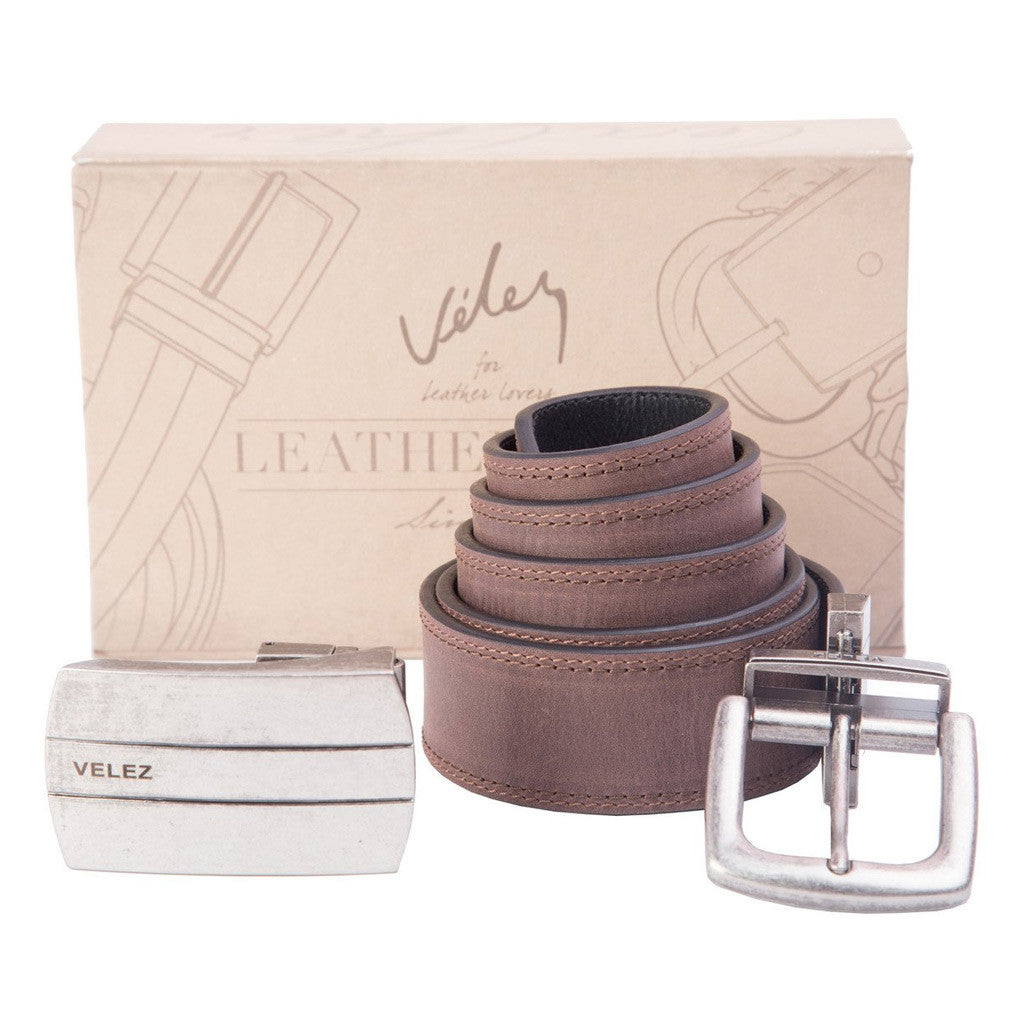 Velez 1013563 Reversible Brown & Black Leather Belt Plus Two Buckles For Men