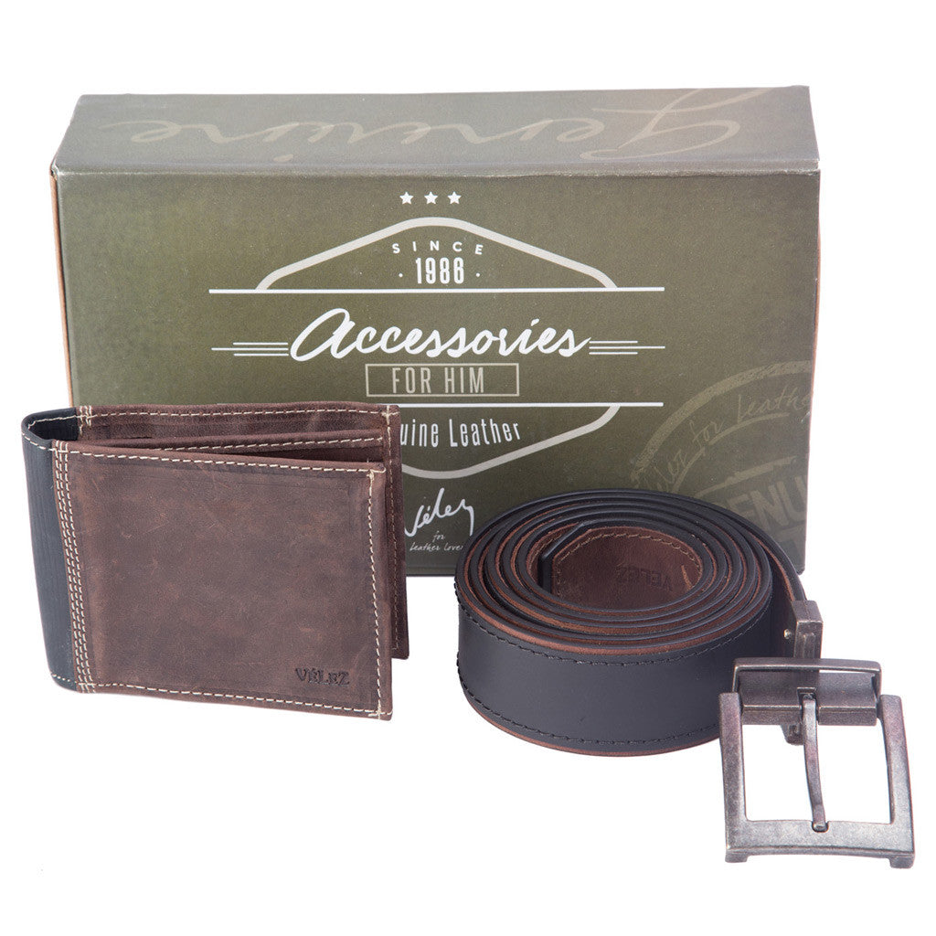 e1d5cfd4ed Velez 1014574 Geniune Leather Handcrafted Wallet And Belt Kit For Men -  Showmee