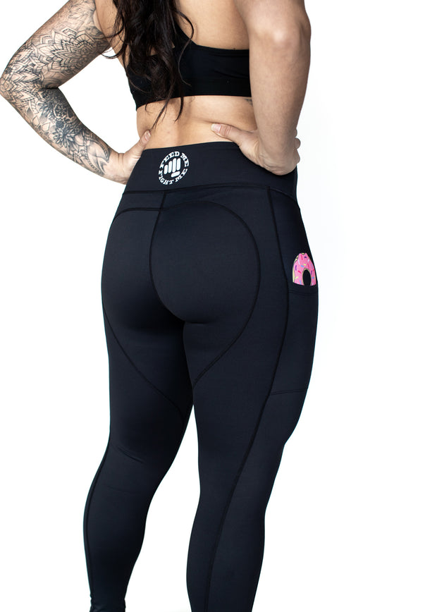 black workout leggings donut in pockets
