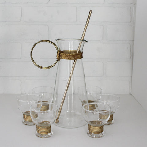 Cocktail Pitcher and Glass Set - Gold Rope Embellishments