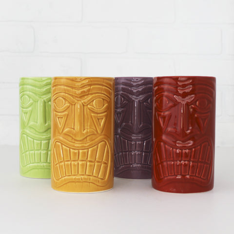 Four Tiki Cocktail Mugs - green, red, purple, orange
