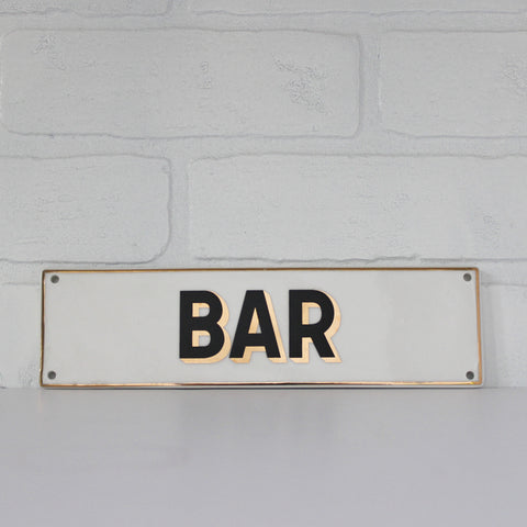 Ceramic Bar Sign - 'Bar,' gold and black lettering