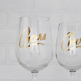 Cheers Wine Glass, gold lettering