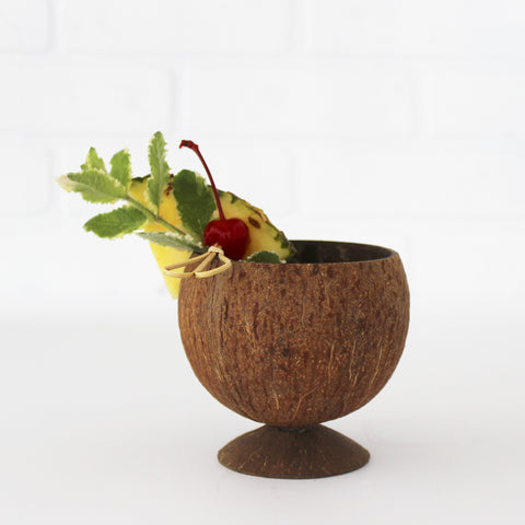 Coconut Cup with Coconut Shell Base, with garnish