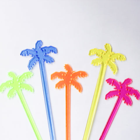 Five Palm Tree Stir Sticks - green, blue, orange, yellow, purple
