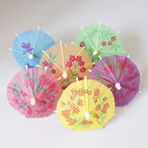 Six Open Parasol Umbrella Cocktail Picks - blue, green, orange, yellow, pink and purple