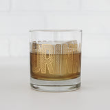 'Drinky Drinky' Low Ball Glass, gold lettering
