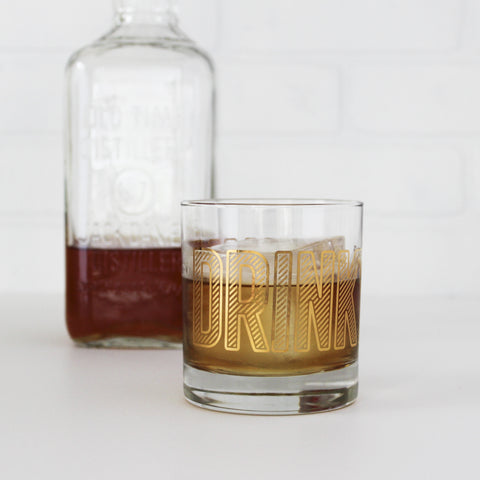 'Drinky Drinky' Low Ball Glass, gold lettering, vintage Jack Daniel's bottle in the background