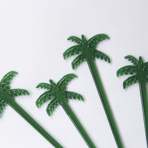 4 Green Palm Tree Stir Sticks