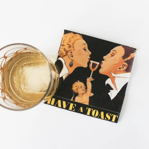 Napkins, 'Have a Toast,' with cocktail