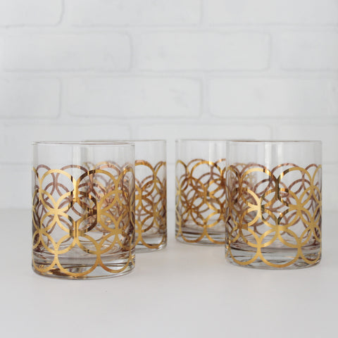 Four Double Old-Fashioned Glasses with Gold Rings