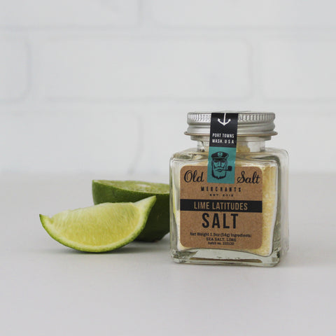 Lime Latitudes Cocktail Rimming Salt, 1.9 oz, with lime wedge garnish