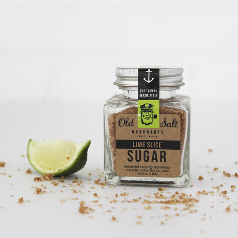 Lime Slice Organic Cocktail Rimming Sugar, 2.7 oz, with lime garnish