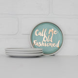 Coasters/Cocktail Plates, set of 4; 'Bottom's Up,' 'Fancy Another,' 'Call Me Old Fashioned,' 'Drinks On Me,' pastel colors with gold lettering