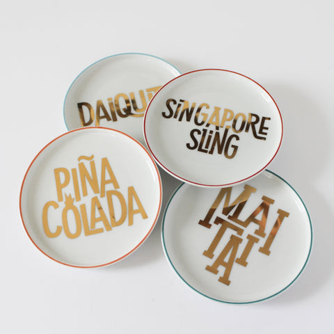 Tiki Coasters/Cocktail Plates, set of 4; 'Mai Tai,' 'Piña Colada,' 'Daiquiri,' 'Singapore Sling,' gold lettering