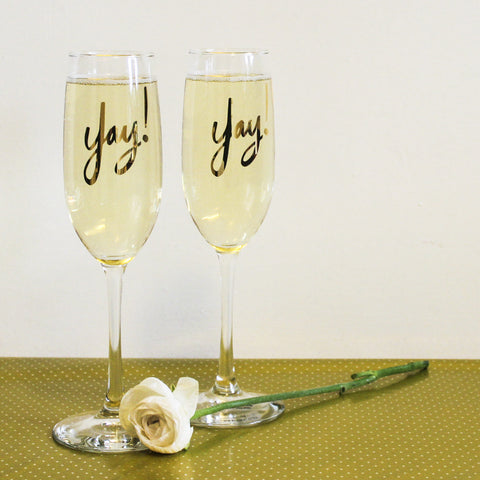 Set of 2 'Yay' Gold Printed Champagne Flutes